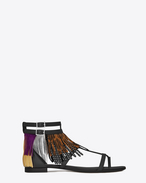 NU PIEDS 10 Fringed Sandal in Black Leather, Tan Brushed Leather, Dark Violet Suede and Gold and Silver Metallic Leather