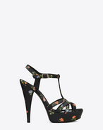 JODIE 105 Strappy Sandal in Black and Multicolor Prairie Flower Printed Leather