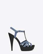 JODIE 105 Strappy Sandal in Light Blue Denim, Black Leather and Oxidized Nickel
