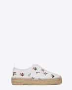 ESPADRILLE in White and Multicolor Prairie Flower Printed Leather