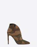 Classic PARIS 105 Lace-Up Low Cut Ankle Boot in Camouflage Suede