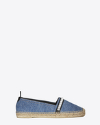 ESPADRILLE Studded in Light Blue Denim, Black Leather and Oxidized Nickel