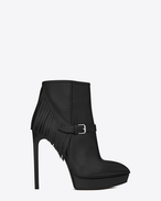 Classic JANIS 105 Fringed Ankle Boot in Black Leather