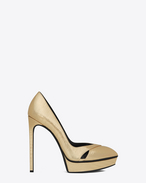Classic JANIS 105 Escarpin Cut-Out Pump in Pale Gold Lizard Embossed Metallic Leather