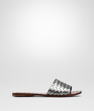 SANDALS IN LIGHT SILVER INTRECCIATO CALF
