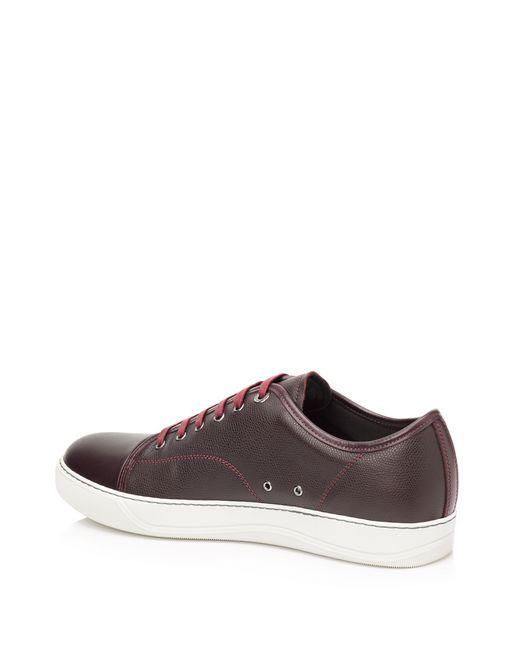 lanvin low sneakers in brilliant grain calfskin and nappa calfskin men