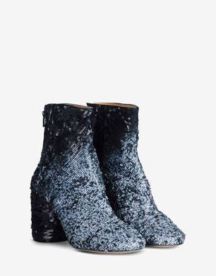 Sequin round-toe ankle boots