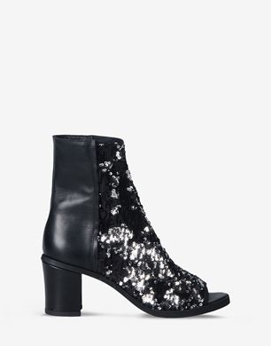 Open-toe sequin ankle boots