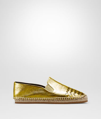 ESPADRILLE IN LIGHT GOLD CALF INTRECCIATO