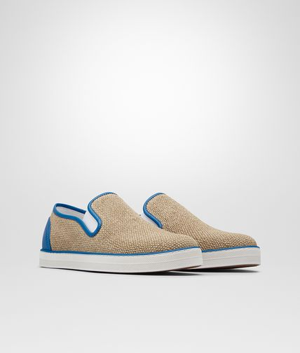 SNEAKER IN NATURALE CANVAS AND BLUETTE CALF - Online Boutique Exclusive