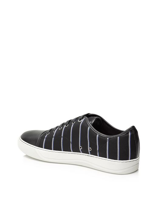 lanvin low sneakers in striped jacquard, with calfskin nappa toe and piping men