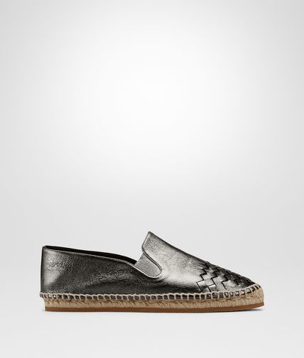 ESPADRILLE IN ARGENTO ANTIQUE CALF INTRECCIATO