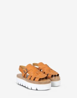 Calfskin flatform sandals