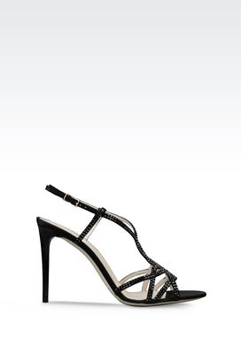 Armani High-heeled sandals Women suede sandal with rhinestones