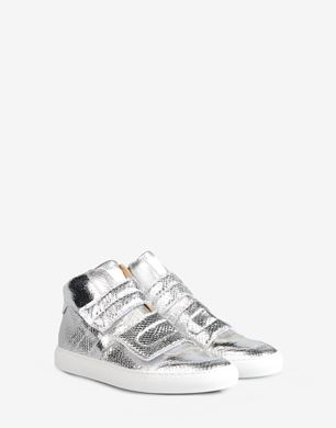 High top printed metallic sneakers