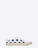 Signature COURT CLASSIC SL/06 CALIFORNIA Sneaker in Off White Canvas and Indigo Leather