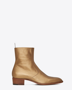 Signature Wyatt 40 Zipped Boot in Dark Gold Grained Metallic Leather