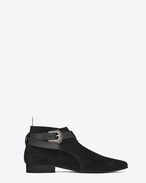Signature LONDON 20 Western Jodhpur Cropped Boot in Black Suede and Leather