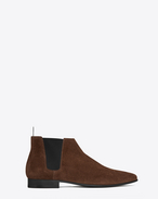 Signature LONDON 20 Cropped Chelsea Boot in Brown Suede