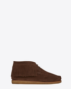 MOCCASIN Fringed Desert Boot in Brown Suede