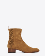 Wyatt 40 Fringed Boot in Tan Suede