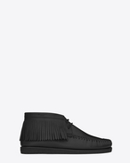 MOCCASIN Fringed Desert Boot in Black Leather