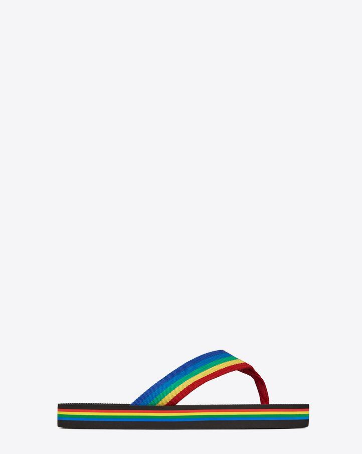Saint Laurent NU PIEDS Rainbow Flip Flop In Multicolor D¨¦grad¨¦ ...