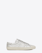 Signature COURT CLASSIC SURF SL/37 Sneaker in Silver Canvas and Leather