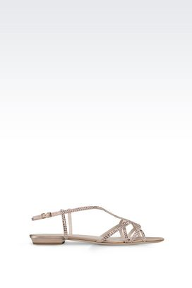 Armani Flat sandals Women suede sandal with rhinestones