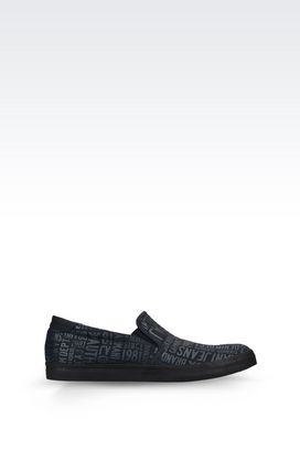 Armani Loafers Men slip-on in logo patterned canvas