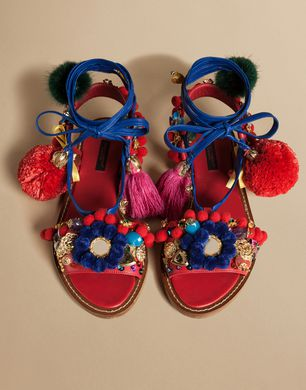 DECORATIVE FLAT SANDAL IN NAPA LEATHER WITH POMPOMS - Sandals - Dolce&Gabbana - Summer 2016