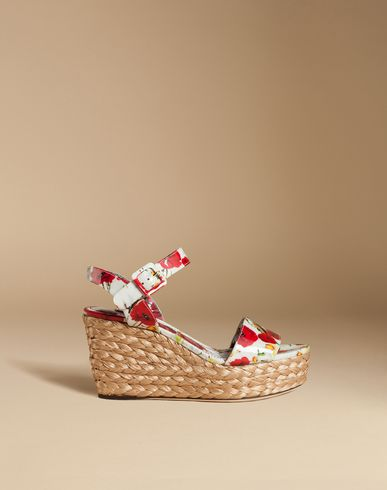 Patent Sandal With Woven Raffia Wedge