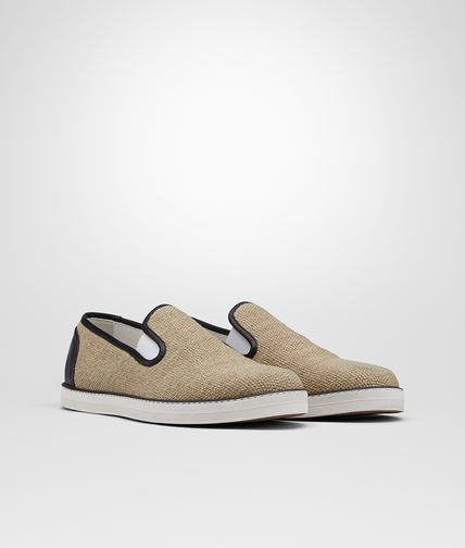 SNEAKER IN NATURALE CANVAS AND NERO CALF