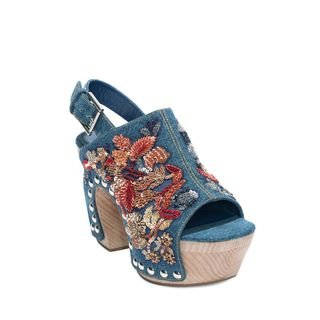 ALEXANDER MCQUEEN, Sandals, Flower Vintage Denim Embroidered Clog