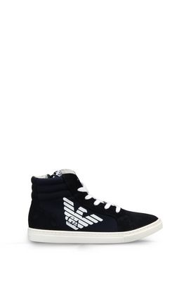Armani Sneakers Men high top sneaker in canvas and suede