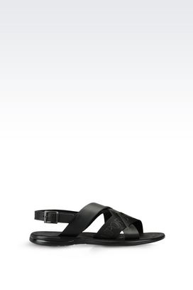 Armani Flat sandals Men calfskin sandal