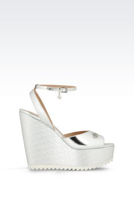 Armani Wedges Women wedge sandal in mirror finish faux leather