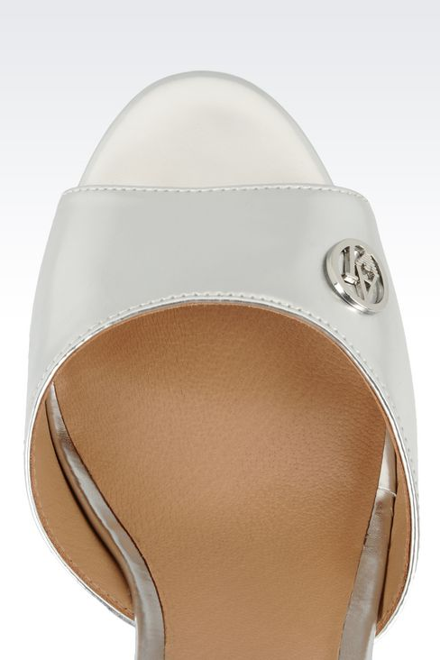 WEDGE SANDAL IN MIRROR FINISH FAUX LEATHER: Wedges Women by Armani - 4