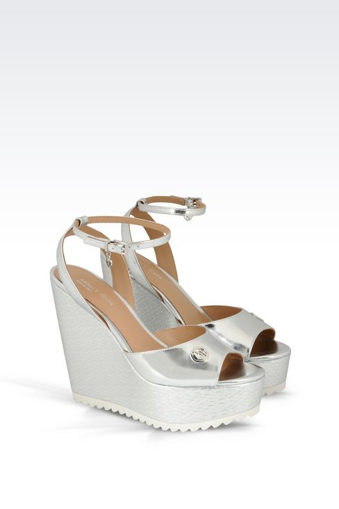 WEDGE SANDAL IN MIRROR FINISH FAUX LEATHER: Wedges Women by Armani - 2