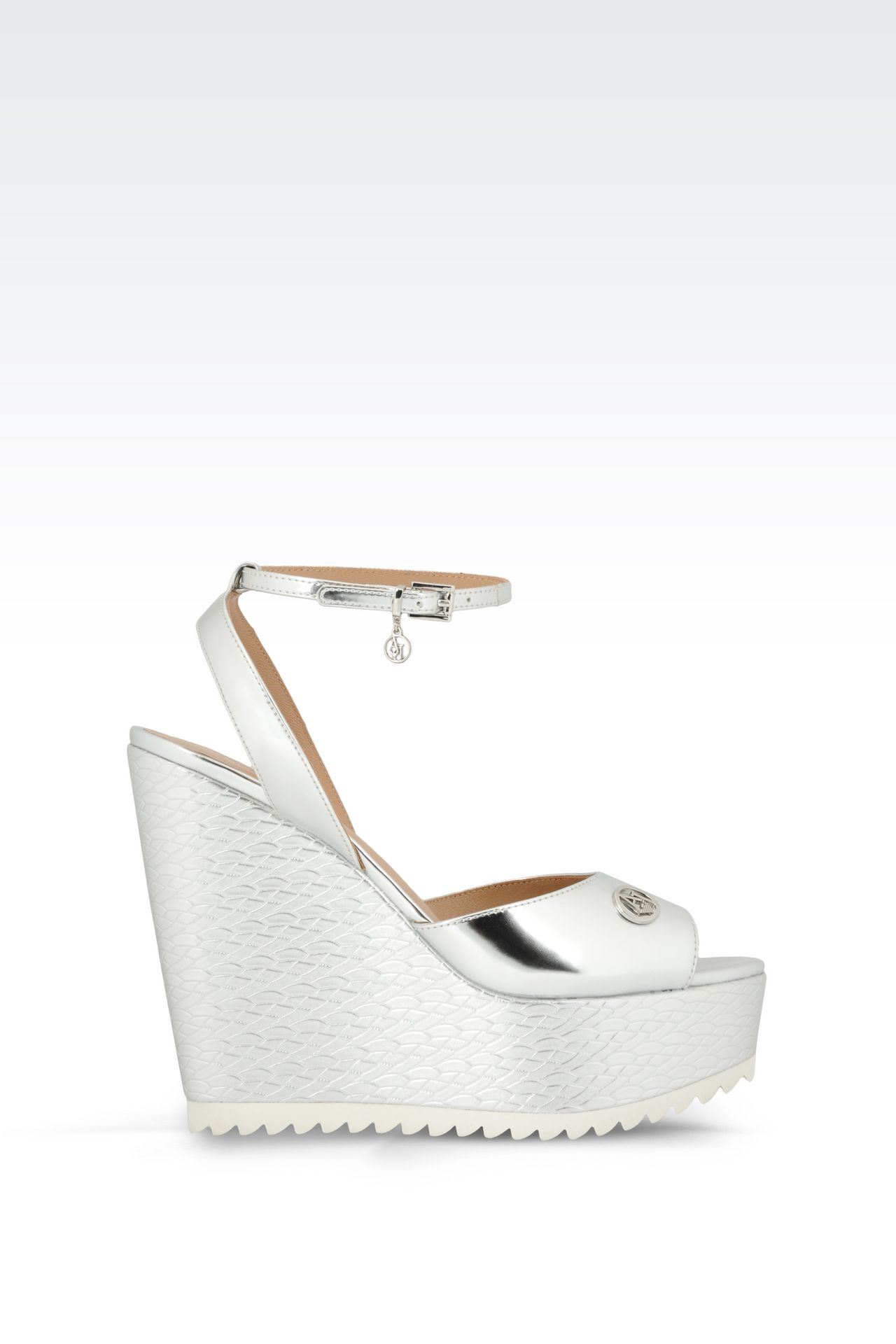 WEDGE SANDAL IN MIRROR FINISH FAUX LEATHER: Wedges Women by Armani - 0