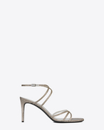 KATE 80 Sandal in Pale Gold Leather and Lurex