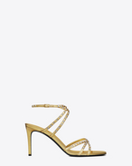 KATE 80 Studded Sandal in Gold Leather and Crystal