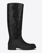 FESTIVAL 25 High Boot in Black Rubber and Sequins