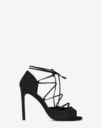 JANE 105 Peep Toe Lace-Up Sandal in Black Suede