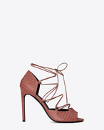 JANE 105 Peep Toe Lace-Up Sandal in Dark Pink Lizard Embossed Leather