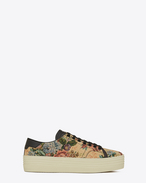 Signature COURT CLASSIC SL/39  Platform Sneaker in Beige, Red and Blue Floral Woven Polyester and Cotton