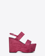 Sandalo CANDY 55 con plateau con doppio cinturino rosso vinaccia in velluto e cristalli smoke