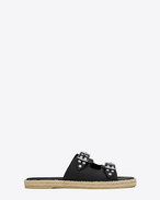 ESPADRILLE Studded Sandal Black Leather and Nickel
