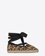 ESPADRILLE Lace-up in Beige and Black Leopard Woven Polyester and Cotton