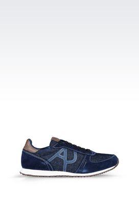 Armani Sneakers Men denim sneaker with logo